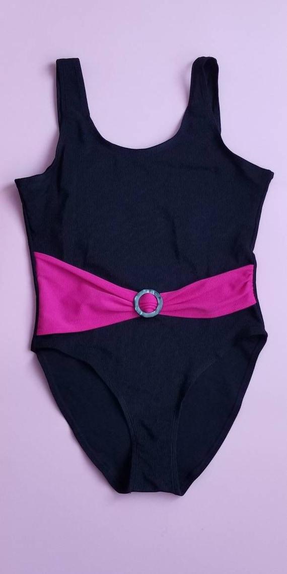 80s Swimsuit Hot Pink Neon Jantzen One Piece Bathing Suit