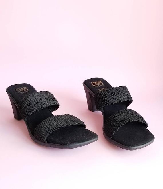 Size 8, Y2k Black Sandals, Women Minimalist mule S
