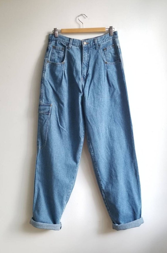 90s Baggy Pleated Jeans, Vintage Women Jeans, Plea