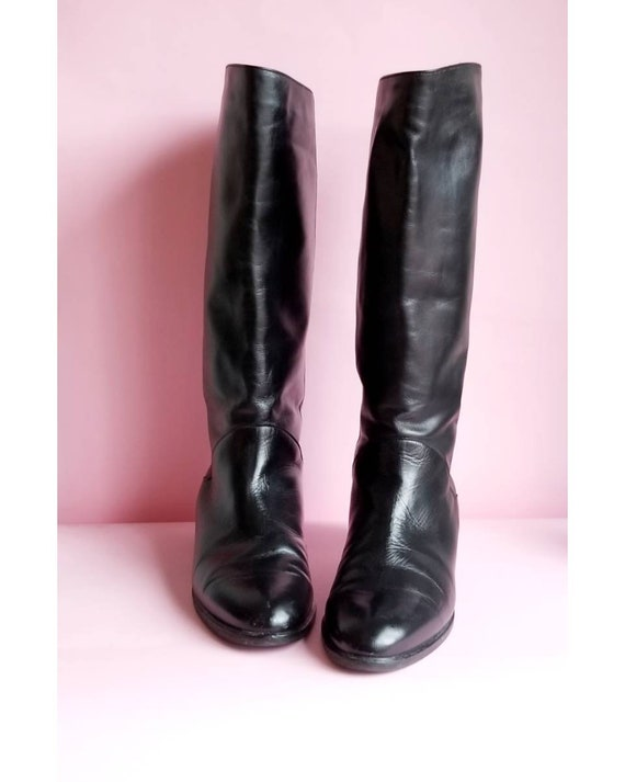 80s Black Leather Boots, Pointy Boots, Vintage Lea
