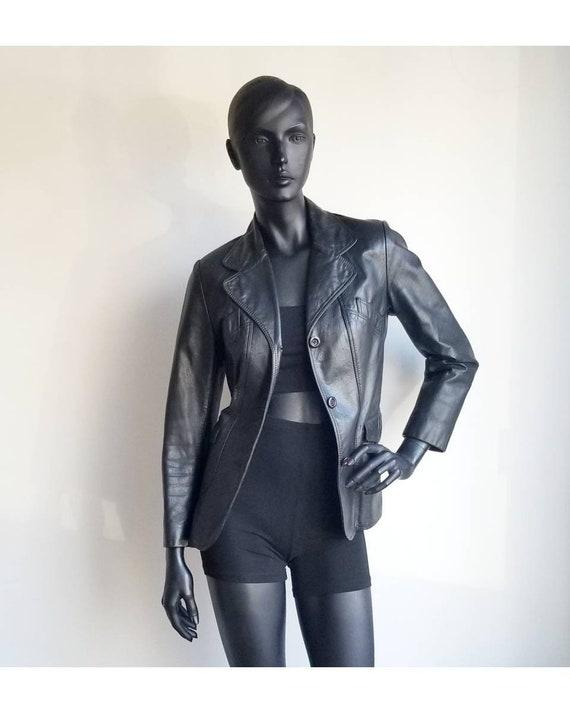70s Leather Jacket, Vintage Black Leather Jacket,