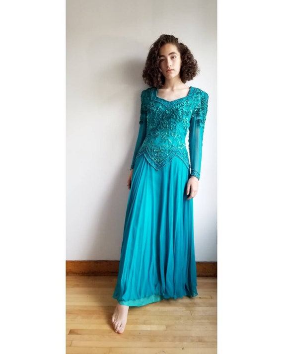 80s Evening Dress, Vintage Turquoise Sequin Rhines