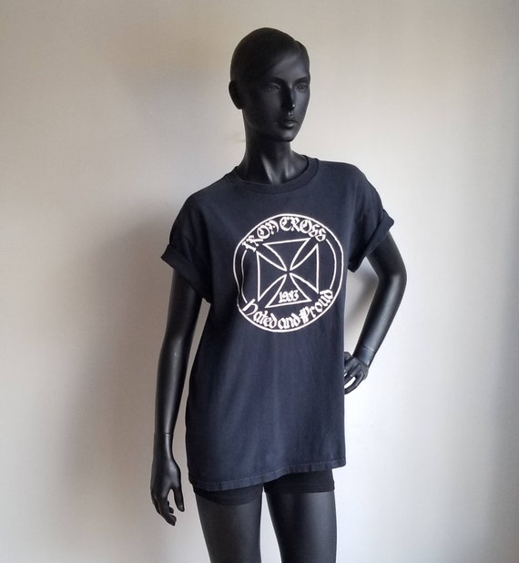 80s Punk Band Tshirt, Iron Cross 1983 Hated and Pr