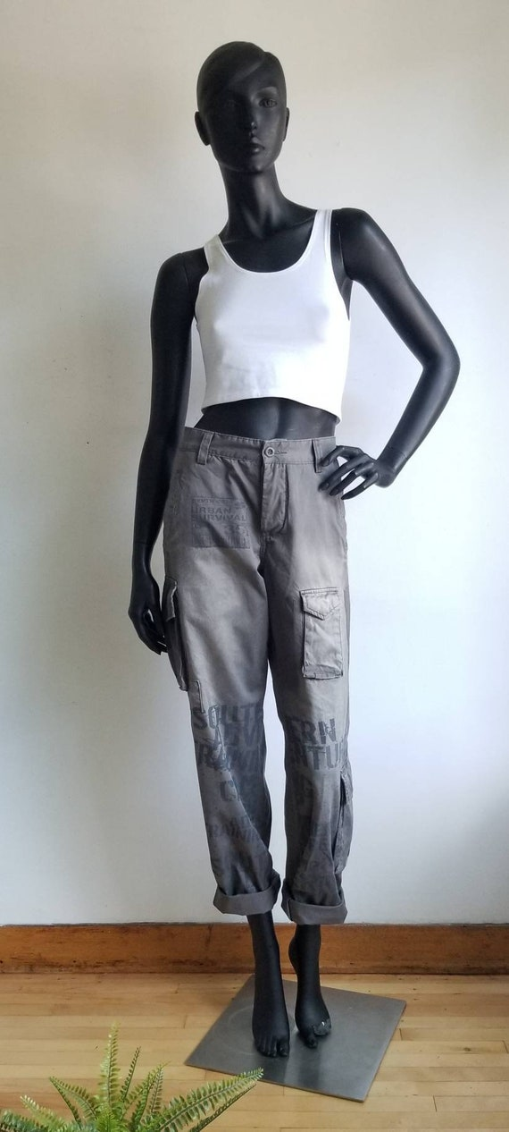 Y2k Printed Jeans, 00s cargo Jeans, Grey Cargo Pan