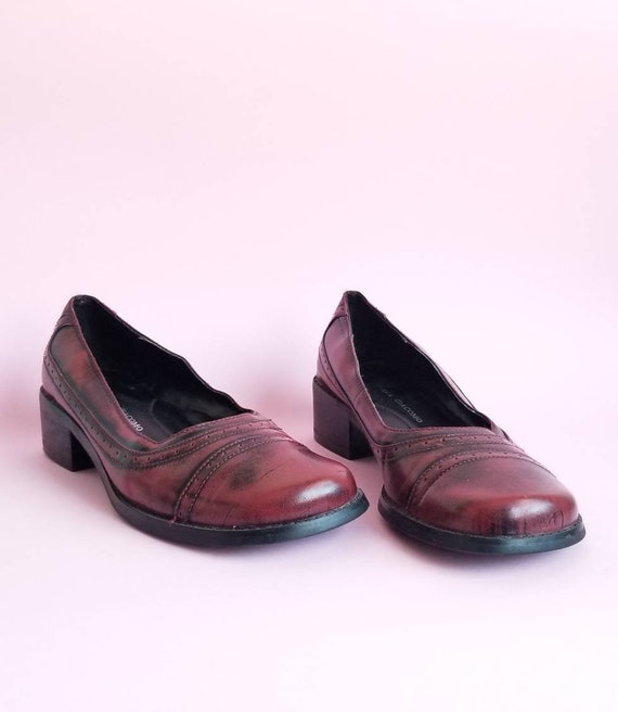 Burgundy Vintage Shoes, 90s Shoes, Women Shoes, Ch
