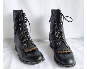 80s LAREDO Leather Boots Vintage Lace Up Boots 90s Roper Boots Boho Leather Boots Western Boots, Size 6.5