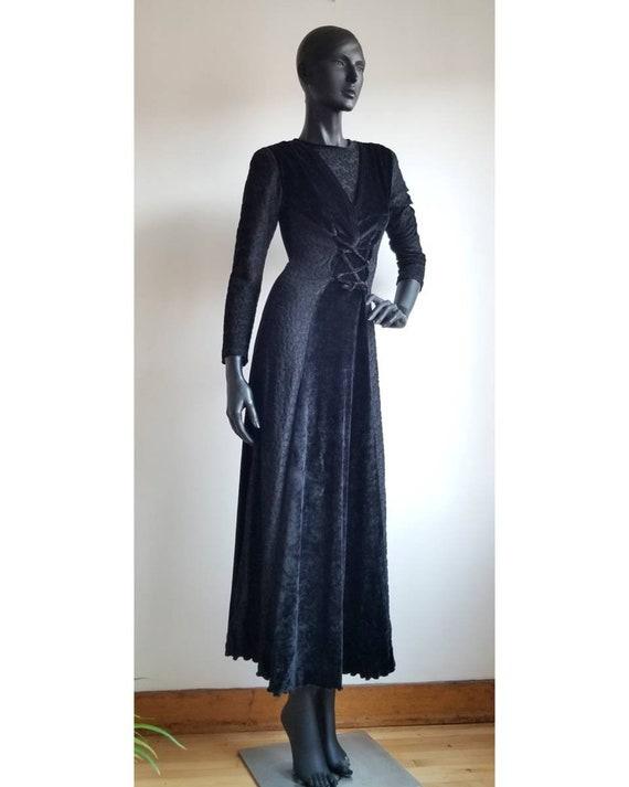 90s Dress, Black Velvet Dress, Velour Dress, Vinta