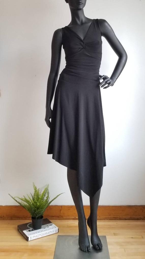 2000s Asymmetrical Dress, Vintage Black Dress, Str