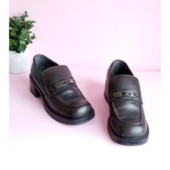 Vintage Chunky Loafer Shoes, 90s Chunky Shoes, Min