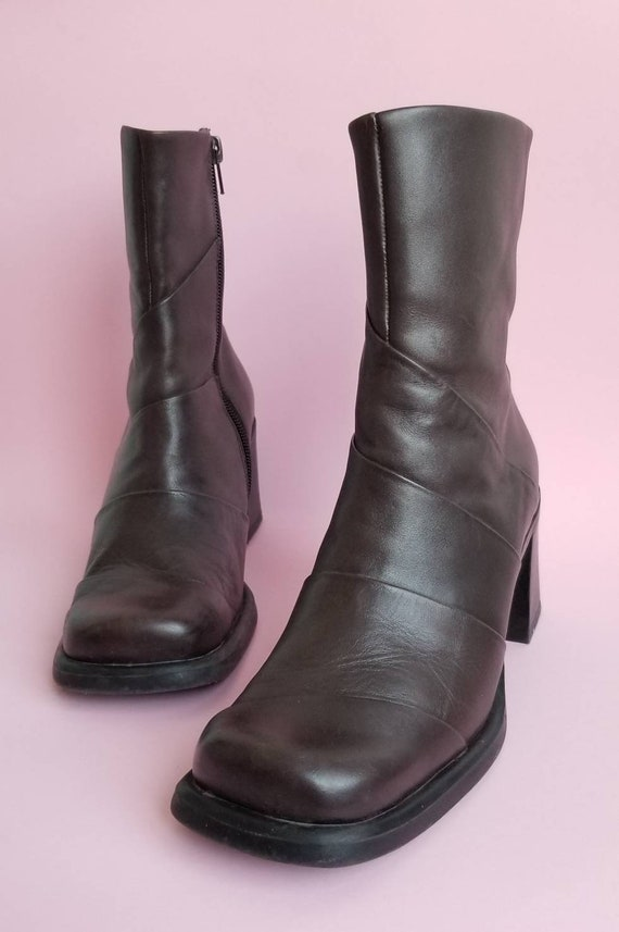 90s Chunky Leather Boots, Square Toes Leather Boot