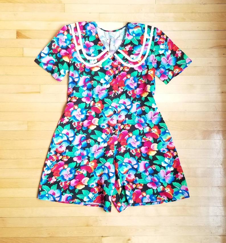 Vintage Large collar Jumpsuit Graphic Jumpsuit Size M-L Jumpsuit 1980s Floral Print Jumper Romper 80s Floral Romper
