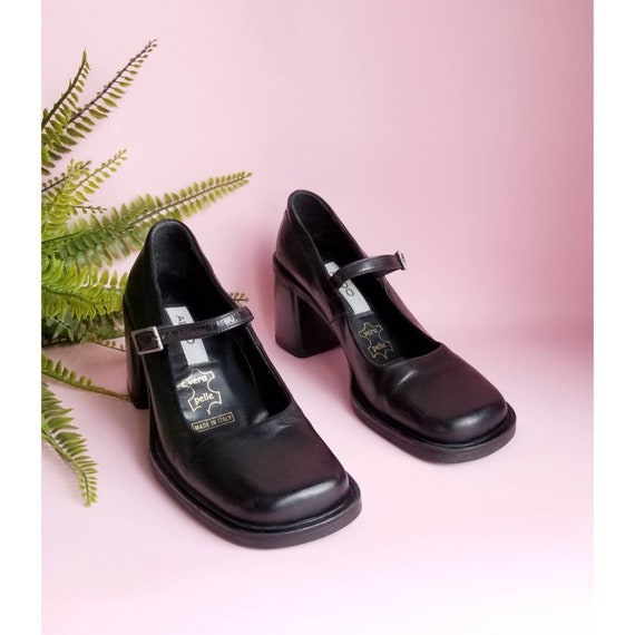 90s Shoes, Black Leather Shoes, 90s Mary Jane Shoe