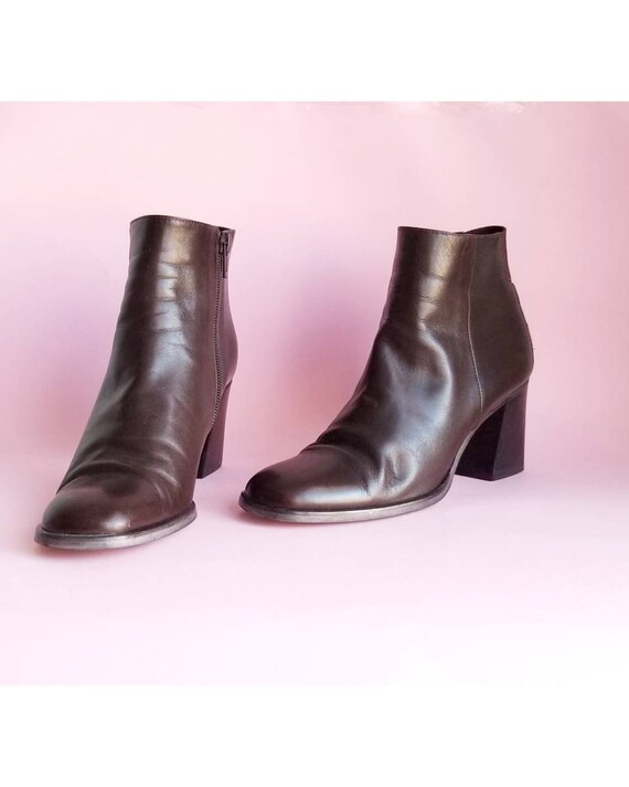 90s Brown Leather Zip Up Boots Ankle Booties Chunk
