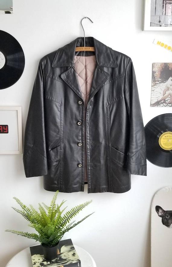Leather Blazer, Vintage Leather Blazer, 70s Leathe