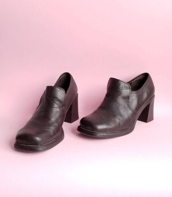 Chunky Leather Shoes, 90s Square Toes Shoes, Dark