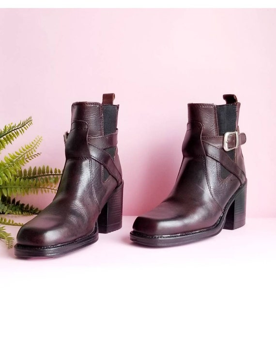 90s Chunky Heels Boots, Vintage Boho Leather Boots