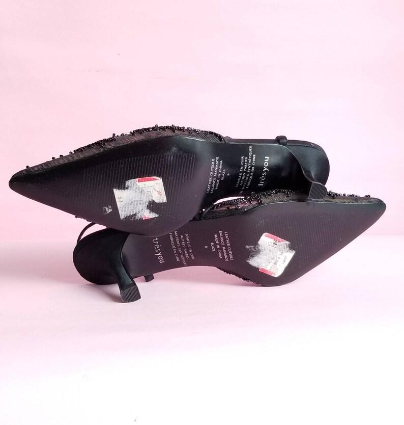 Y2k Kitten Heels 00s Evening Shoes Black Beaded Shoes Black Mesh Kitten Heels Shoes Size 6
