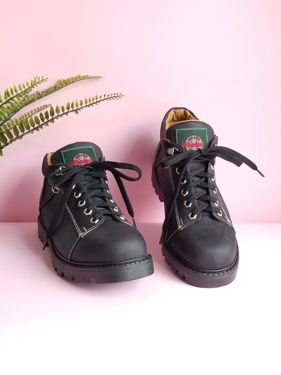 90s Chunky Shoes, Black Leather Chunky Shoes, Grun
