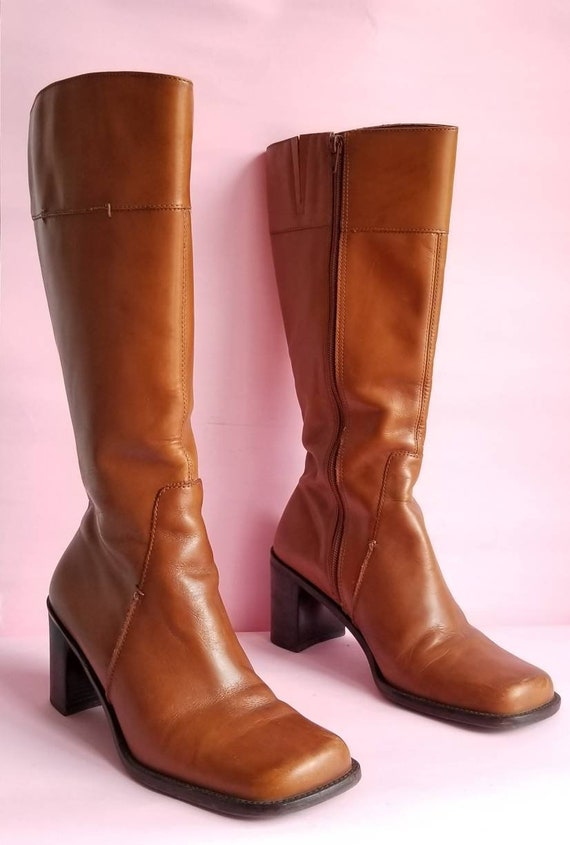 90s Square Toes Leather Boots, Chunky Heels Boots,