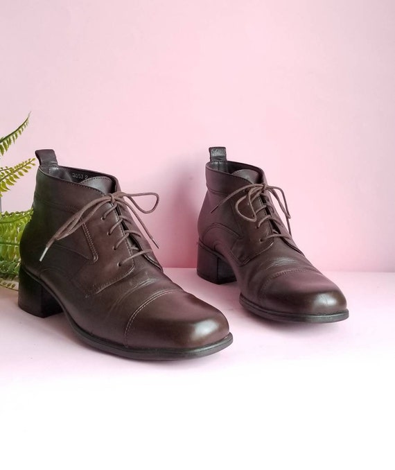 90s Lace Up Ankle Boots, Brown Leather Boots, Chun