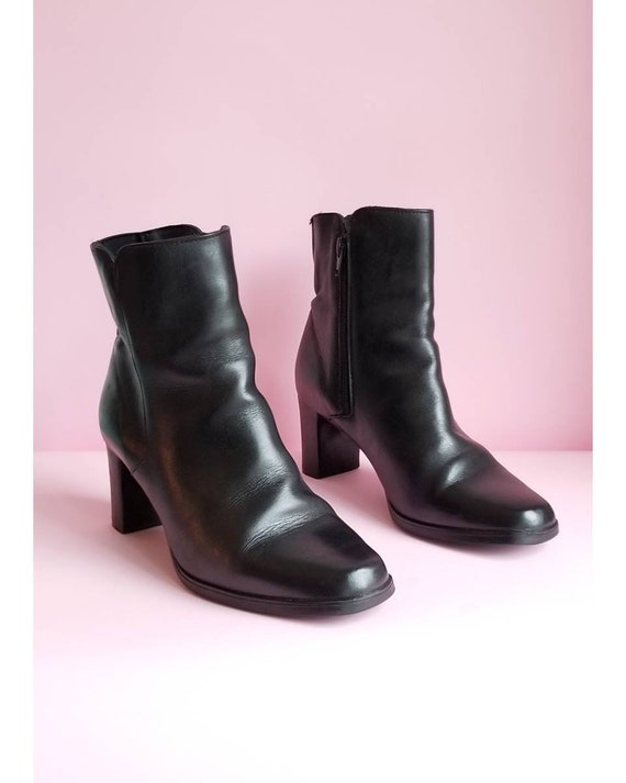 Y2k Black Leather Boots, Women Boots, Zip Up Boots