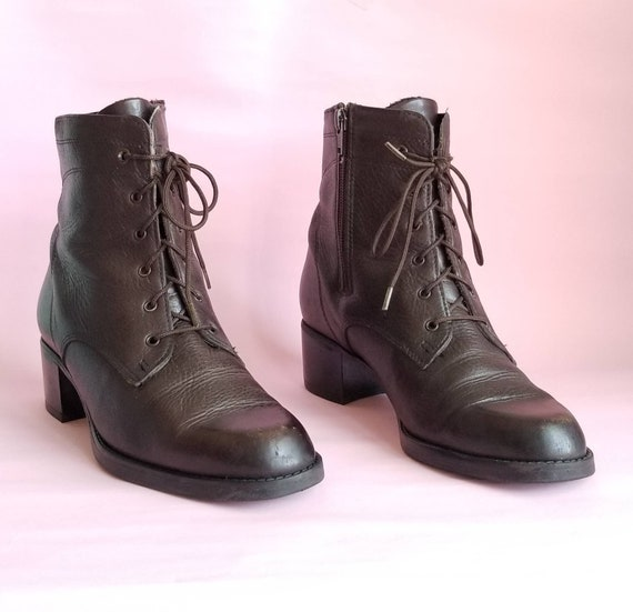 90s Leather Boots, Vintage Ankle Boots, Lace Up Le