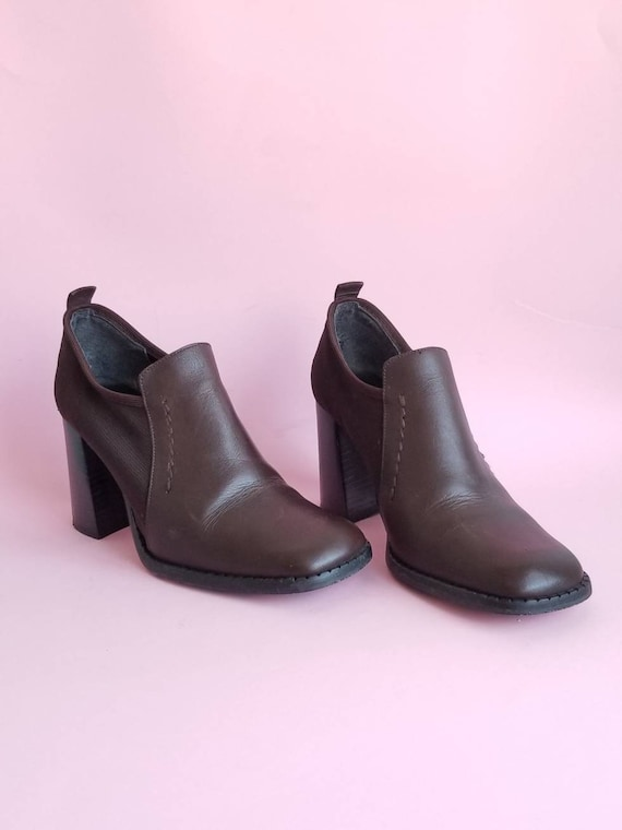 Chunky Heels Shoes, Leather Shoes, 90s Brown Leath