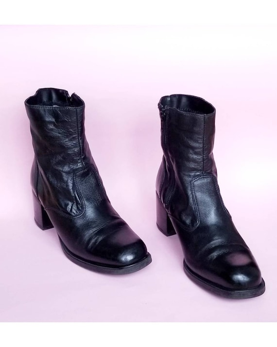 90s Black Boots, Black Leather Zip Up Boots, Chunk