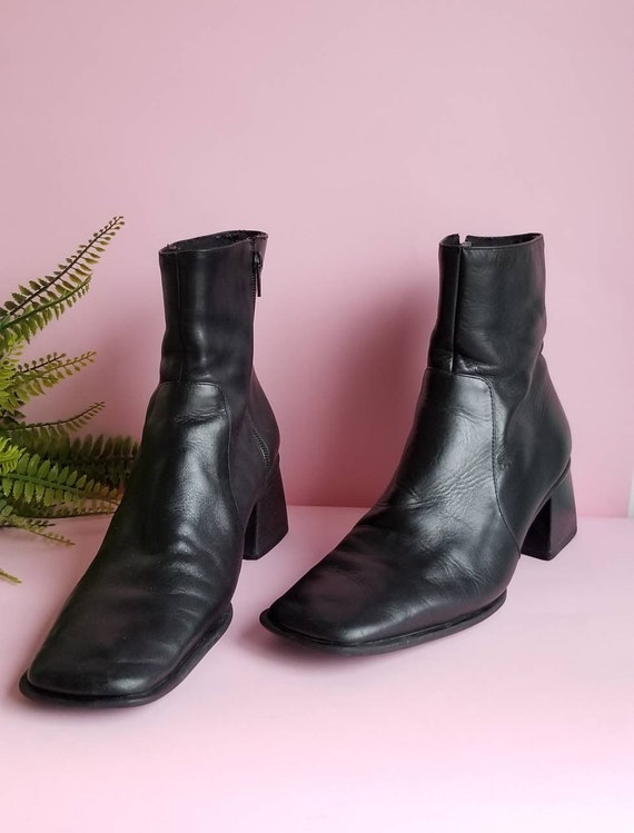 90s Black Leather Boots, Boho Minimalist Leather B