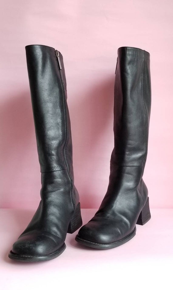 90s Chunky Heels Black Leather Boots, Vintage Knee
