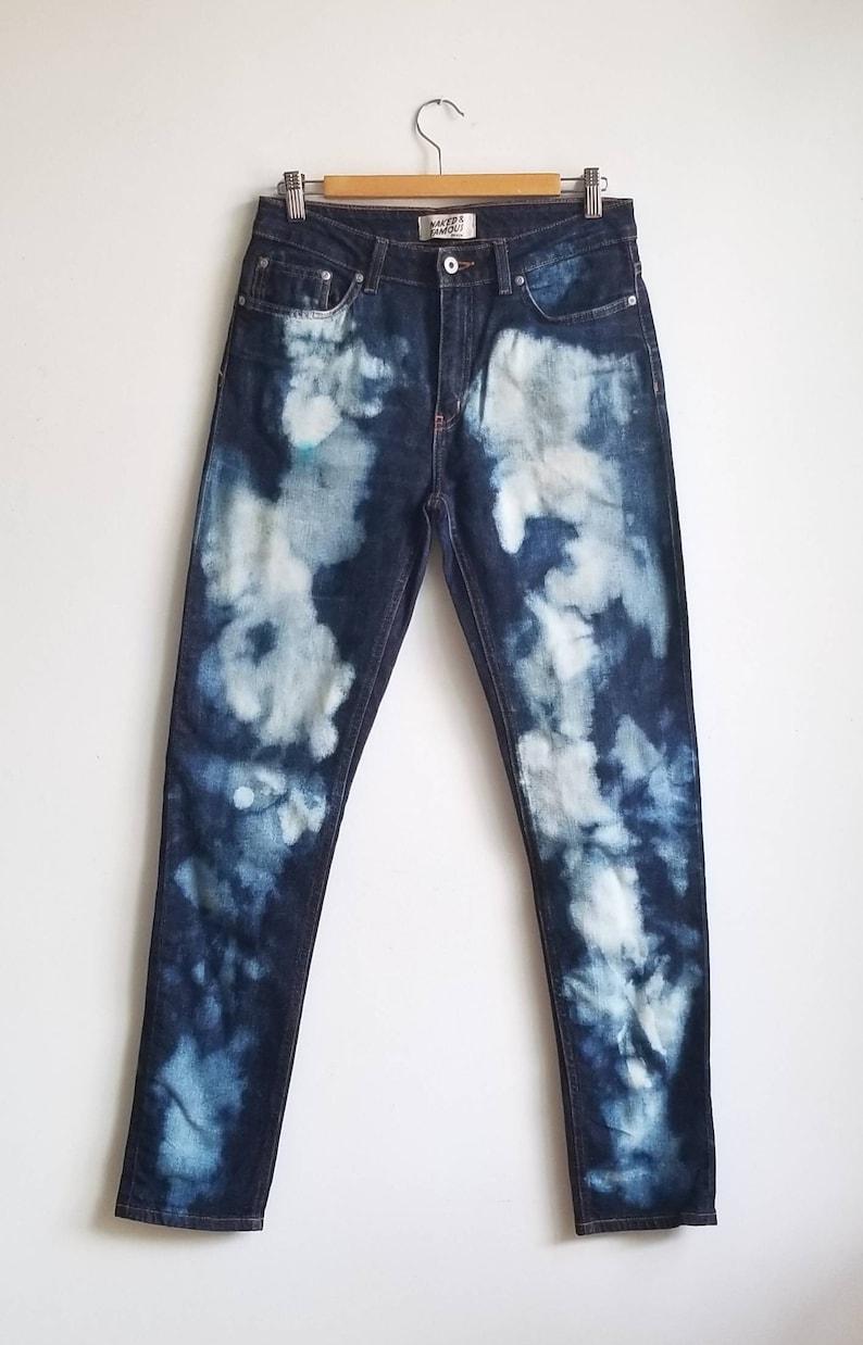 DIY Bleach Jeans Size 31 Naked /& Famous Jeans Tie Dye Jeans Grunge Jeans Slim Fit Men Jeans