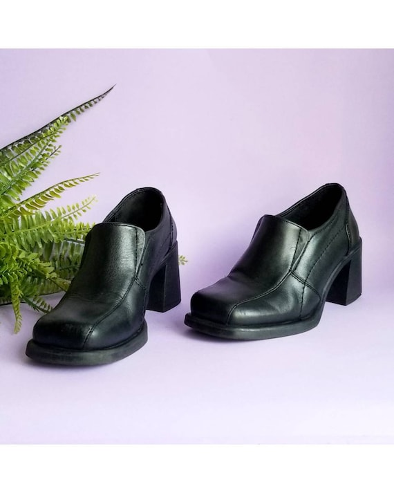 Y2k Black Leather Shoes, Chunky Heels Shoes, Squar