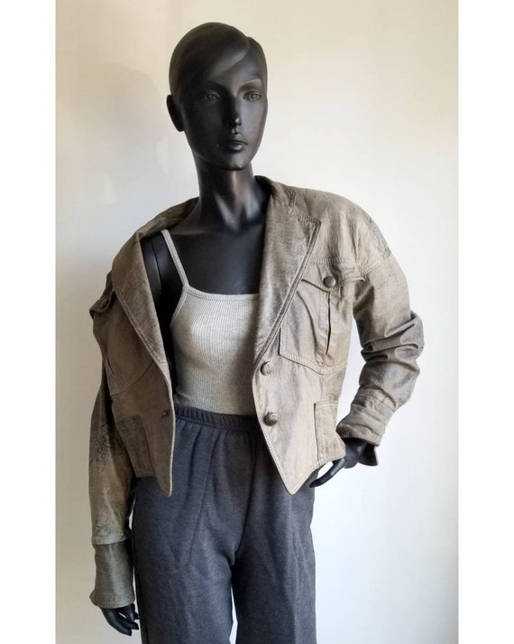 80s Crop Leather Jacket, Nude Leather Jacket, Powe