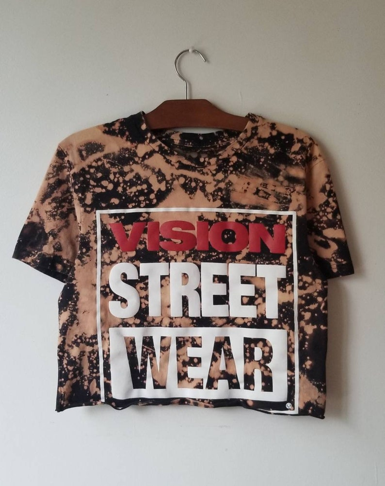 Upcycled t-shirt Bleach Tshirt Vision Streetwear tshirt Tie Dye tee Size LARGE skateboarder crop top