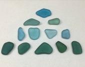 Jewelry Grade Teal, Aquamarine and Seafoam Genuine Sea Glass - 12 Pieces