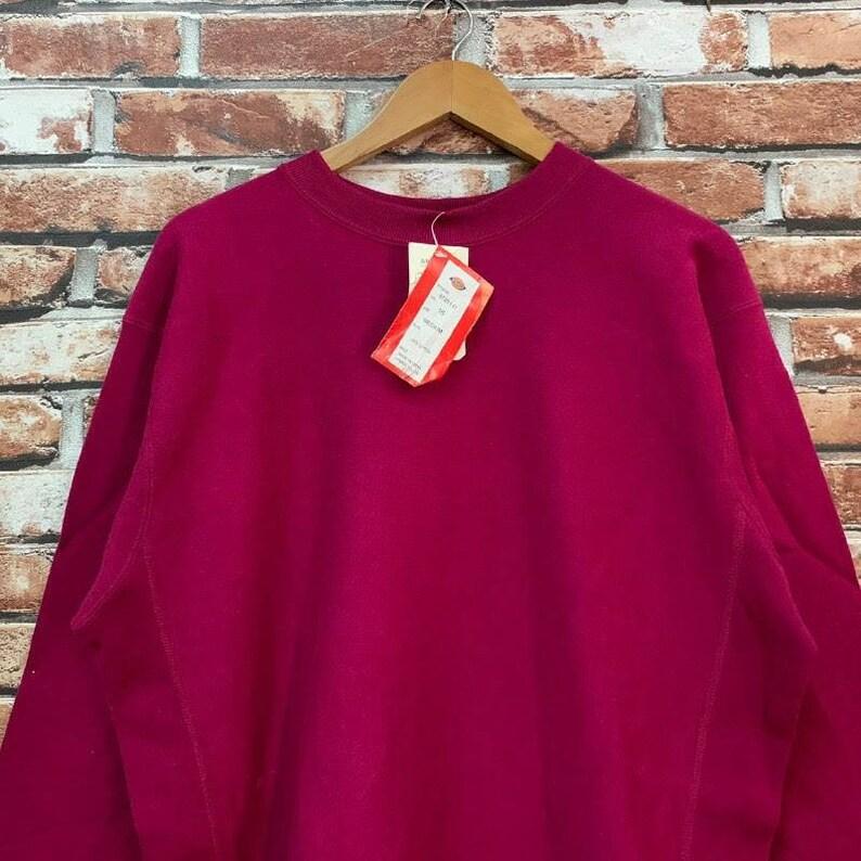 Vintage 90s DICKIES sweatshirt red colour dickies pullover jumper streetwear workwear crewneck size M