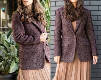 Brown Women/'s Tweed Coat   Chocolate Brown Wool Jacket  Women/'s Wool Tweed Coat  Vintage Tweed Coat  Thick Tweed Wool Jacket-Size Medium