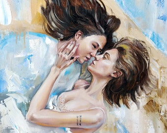 Love in the blue - Original oil painting with lesbian couple LGBT