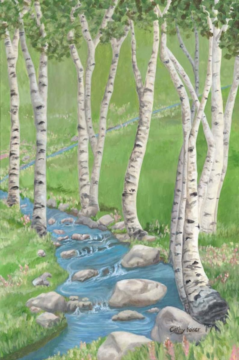 White Birch 8x12 Giclee fine art print from original painting done by Cathy Kaiser