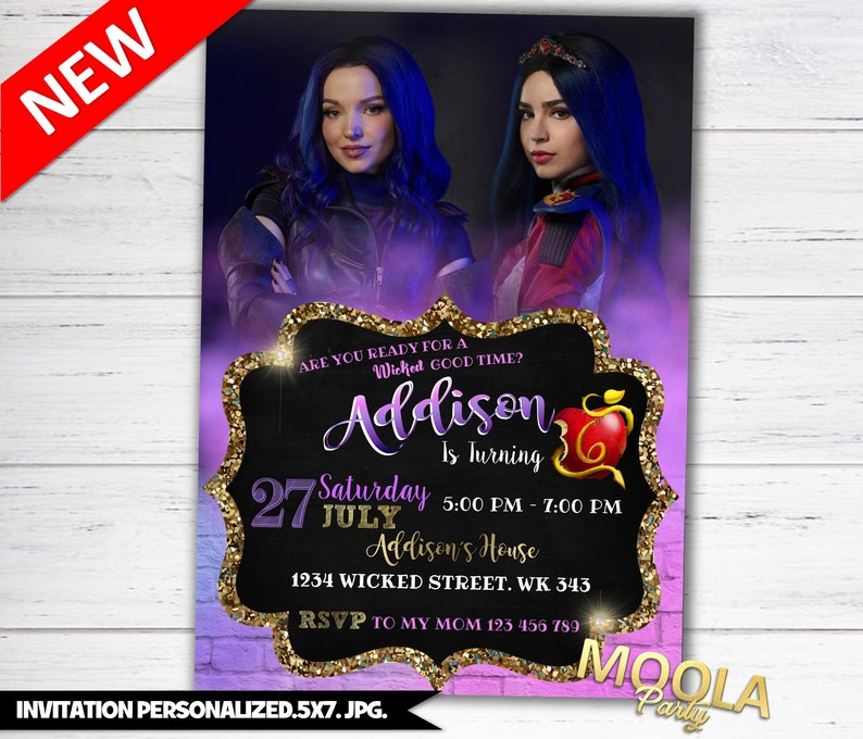 Descendants 3 invitation, descendants 3 birthday, descendants 3 birthday  invitation, descendants 3 party, descendants 3 invitations