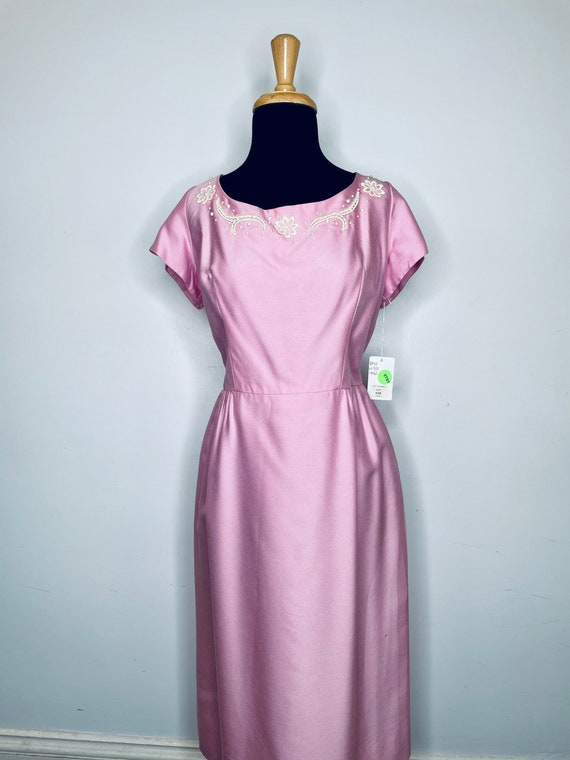 1960s Pink Linen Dress with White Embellishments