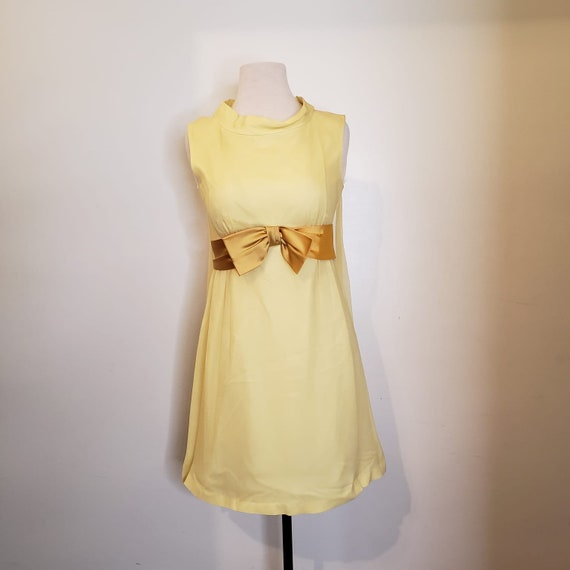 1950s Yellow Chiffon Dress - image 1