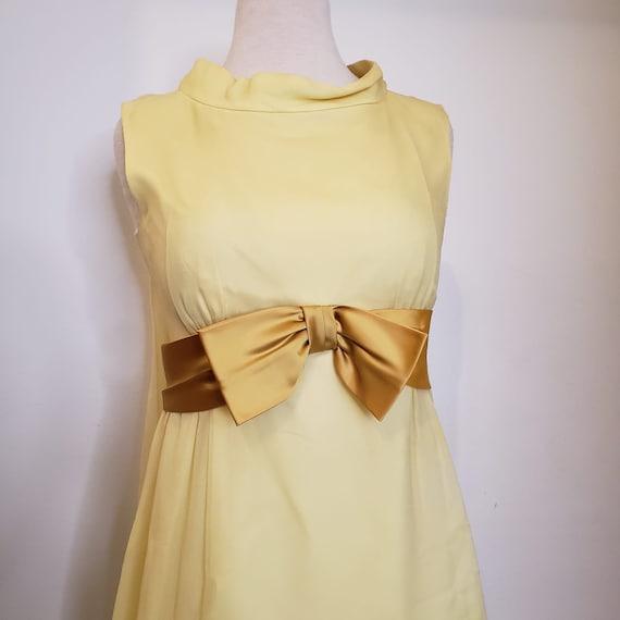 1950s Yellow Chiffon Dress - image 4