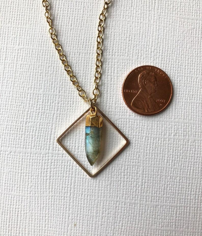Petite Labradorite Spike Necklace