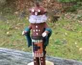 Story Teller Old Cotton Small Wood Mud head Kachina Doll Hopi Signed R. Gren Route 66
