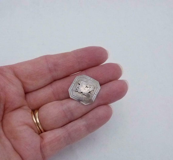 Button Concho Sterling Silver Peruvian Button 0.7… - image 3