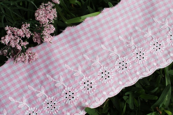 14yds Cotton mini flower Embroidery eyelet lace Trim Black