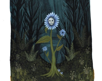 skull flower Giclee print