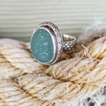 Seaham Teal Sea Glass Silver Decorated Mermaid Scale Band Ring Size 7