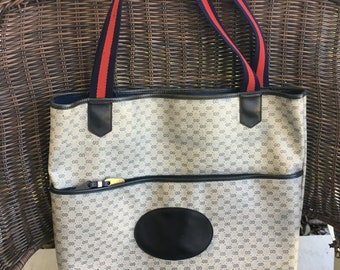911df4bf4eb VINTAGE GUCCI GG Navy Large Tote Bag Excellent Refurbished Professionally